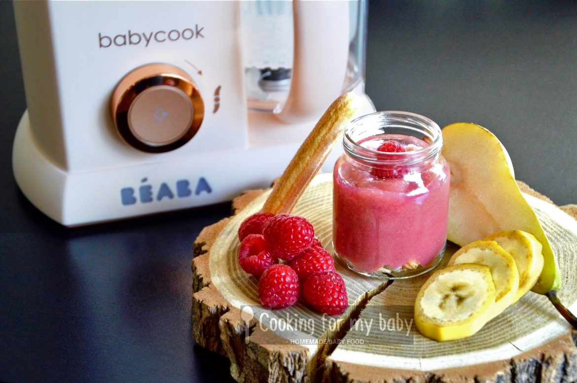 Raspberry, pear and banana on boudoir biscuits baby puree recipe (from 7 months)