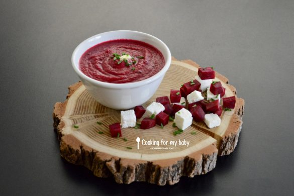 Beetroot and feta with fresh chives gaspacho baby recipe (From 8 months)