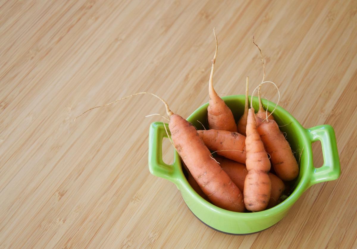 Petites carottes du jardin pour la première purée de bébé