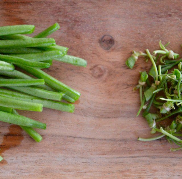 Haricots verts équeutés