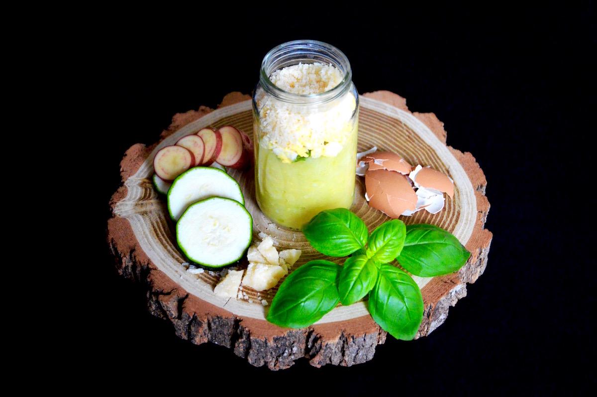 Recette de courgette et oeuf brouillé au basilic et parmesan (Dès 10 mois)