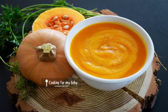 Recette de velouté de courge butternut carotte et cannelle pour bébé dès 6 mois