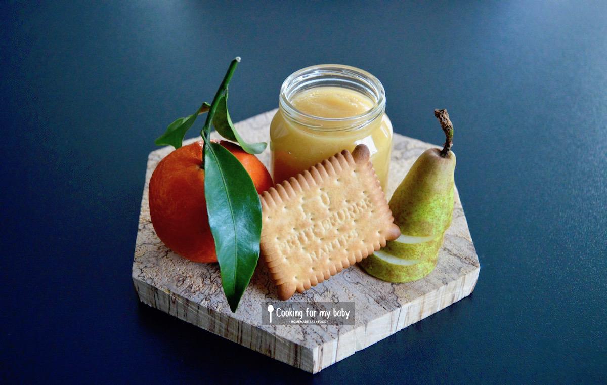 Recette de compote clémentine poire et Petit-beurre pour bébé (Dès 6 mois)