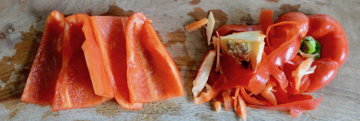 Poivron rouge sans la peau pour bébé