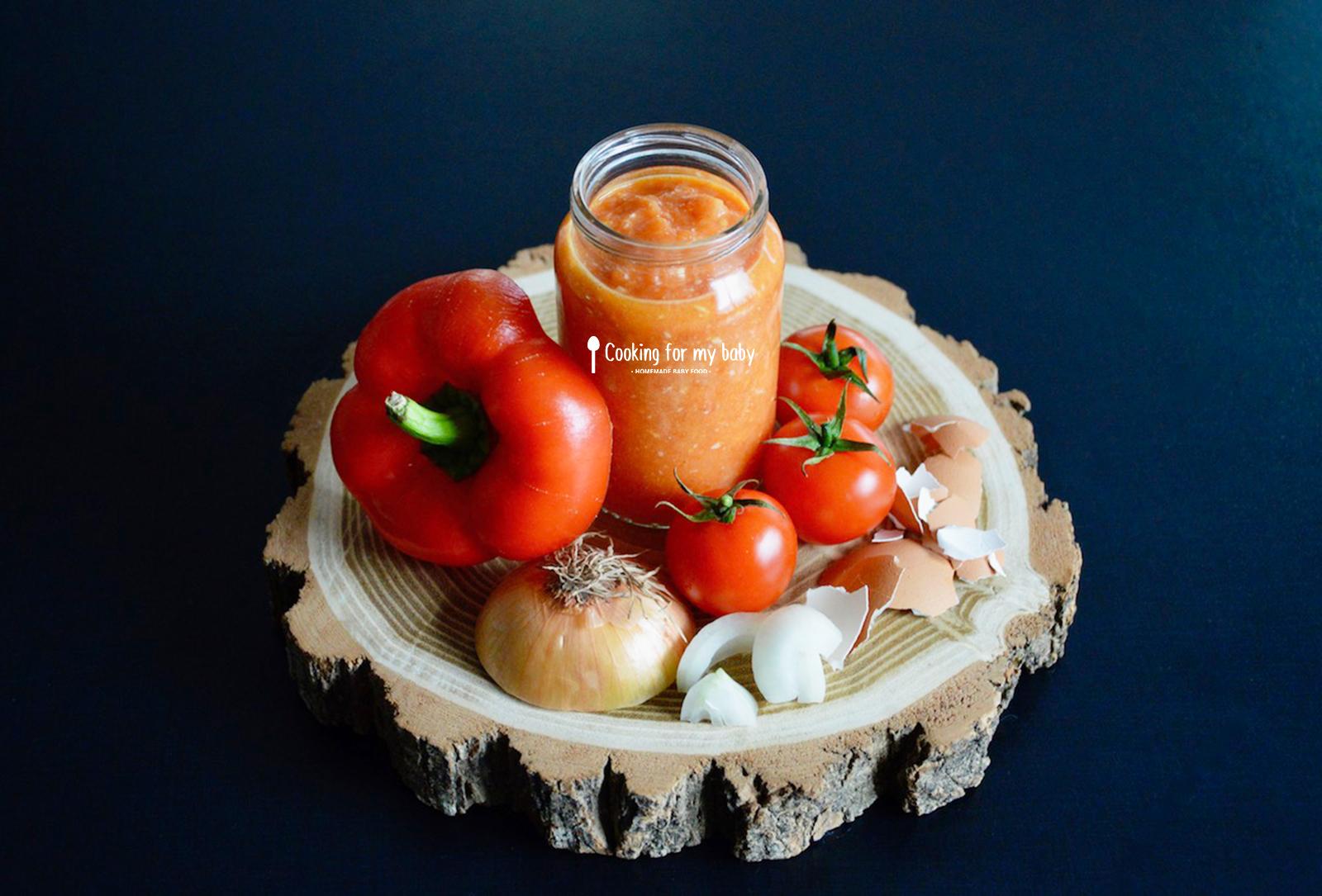Recette de piperade basque pour bébé (sans piment… avec poivron tomate et oeuf)