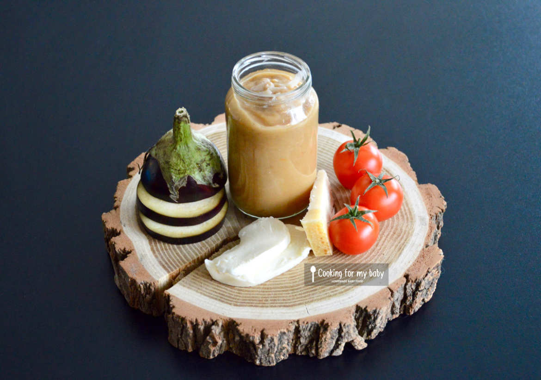 Purée d'aubergine tomate mozzarella parmesan pour bébé