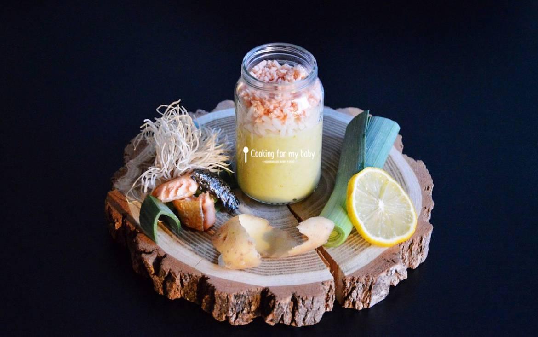 Recette de petit pot de saumon et riz sur fondue de poireaux pour bébé