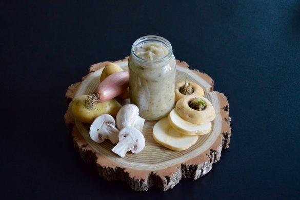Purée de panais champignons de Paris et échalote pour bébé