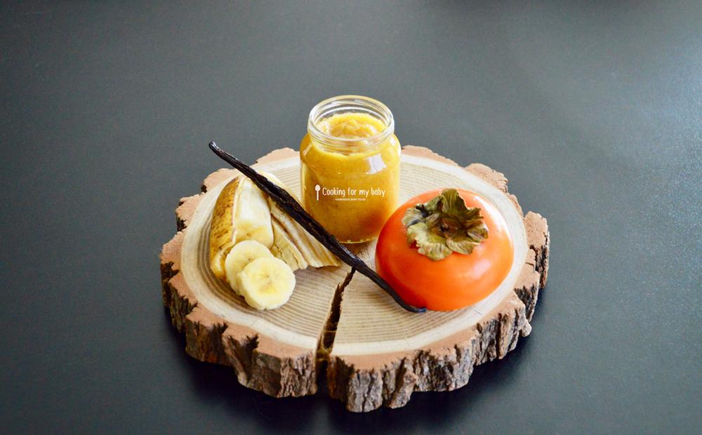 Recette petit pot de compote kaki banane et vanille pour bébé (Dès 12 mois)