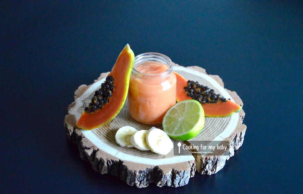 recette de compote papaye banane et citron vert pour b b d s 8 mois cooking for my baby. Black Bedroom Furniture Sets. Home Design Ideas