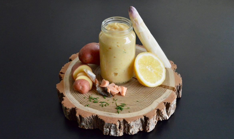 recette de pur e d 39 asperges blanches ciboulette citron la truite pour b b d s 9 mois. Black Bedroom Furniture Sets. Home Design Ideas