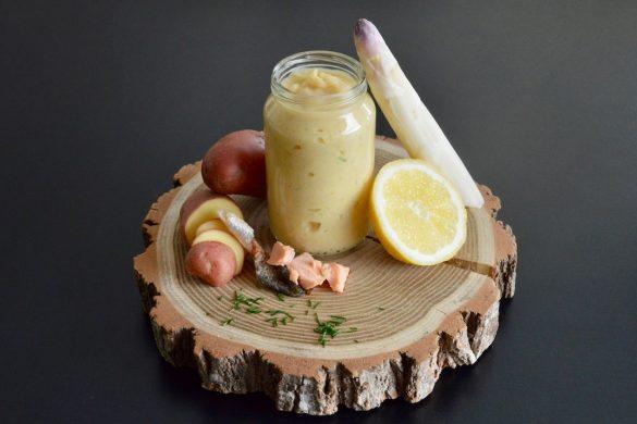 Recette bébé purée d'asperges blanches ciboulette citron à la truite dès 9 mois