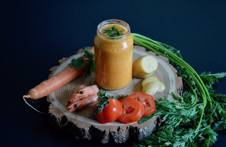 recette de pur e de carotte et tomate aux crevettes coco curry coriandre pour b b d s 12 mois. Black Bedroom Furniture Sets. Home Design Ideas