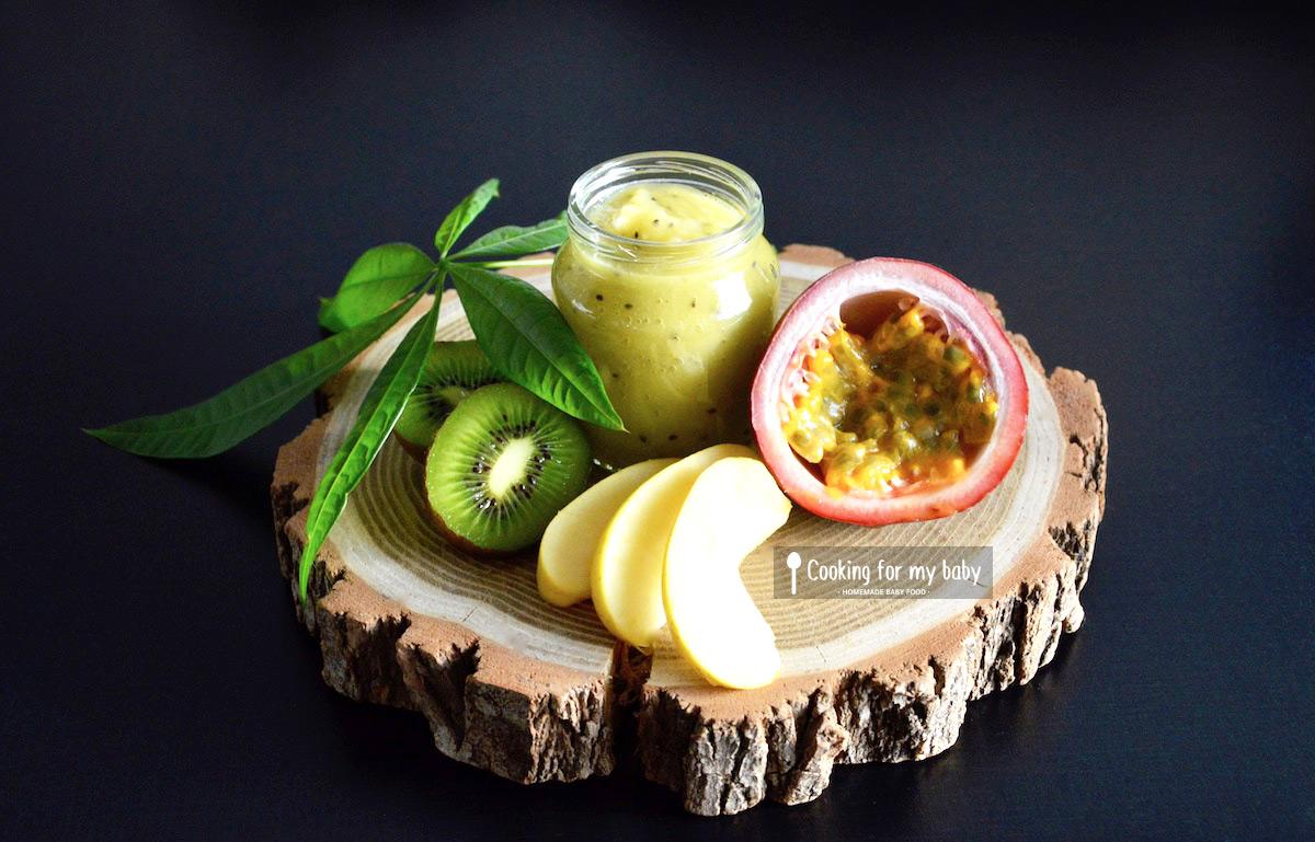 Recette de compote Pomme Kiwi et Fruit de la passion (Dès 12 mois)