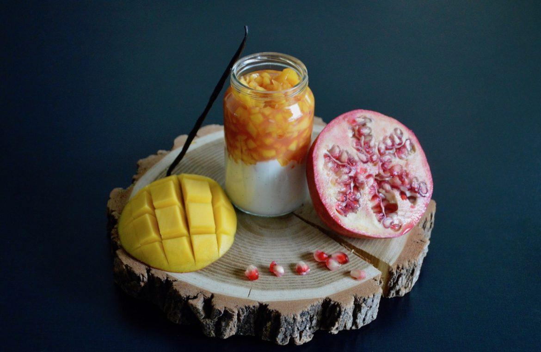 Recette bébé Brunoise de mangue marinade de grenade sur fromage blanc vanille (Dès 8 mois)