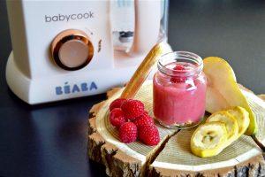 Recette bébé compote framboire poire banane sur lit de boudoirs (Dès 7 mois)