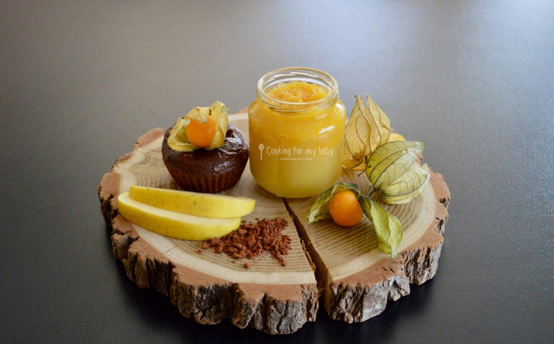 Recette bébé : Compote pomme-physalis et muffin chocolat-physalis pour bébé (Dès 12 mois)