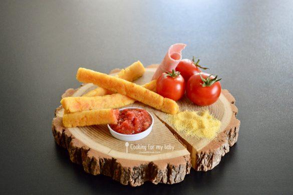 Frites de polenta au jambon et parmesan et leur ketchup pour bébé (Dès 12 mois)