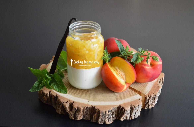 Tartare de nectarine marinée à la menthe sur crème vanille pour bébé (Dès 8 mois)