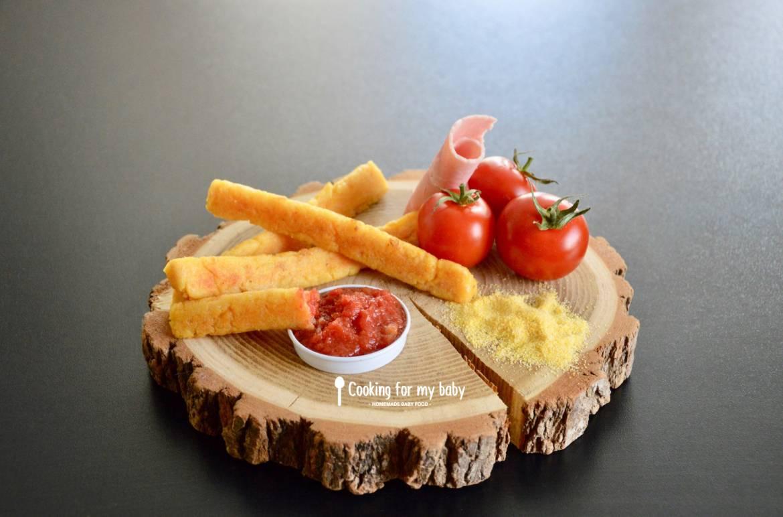 Recette de frites de polenta jambon parmesan et leur ketchup pour bébé (Dès 12 mois)