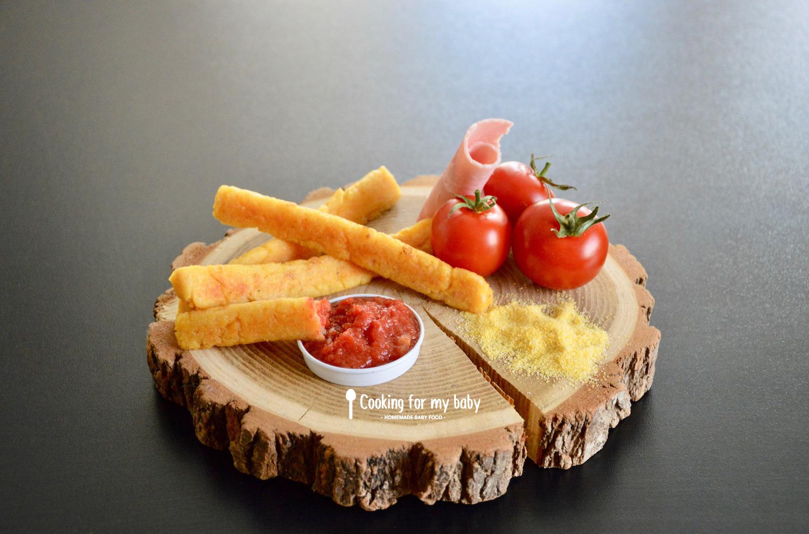 Recette de frites de polenta au jambon et parmesan avec leur ketchup pour bébé (Dès 12 mois)