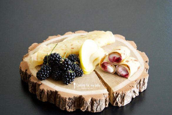 Recette de makis de crêpes compote pomme mûre et fromage blanc pour bébé (Deè 12 mois)