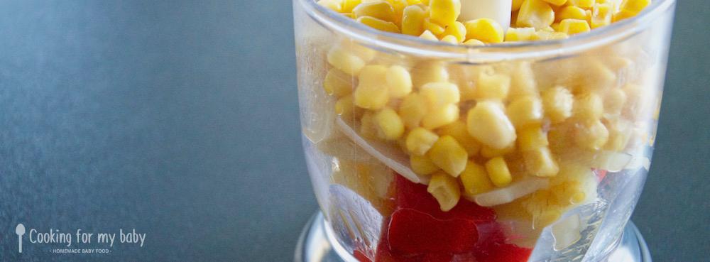 Recette poivron maïs et pomme de terre pour bébé