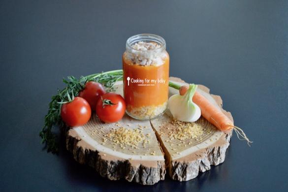 Recette pour bébé : Filet de poulet, sauce carotte tomatée et boulghour (boulgour) (Dès 10 mois)