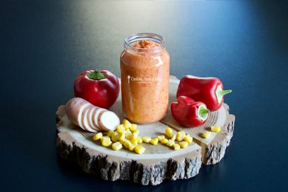 Recette express pour bébé : Purée maïs poivron et pomme de terre pour bébé (Dès 6 mois)
