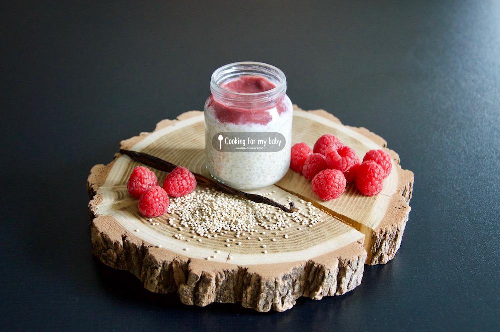 Recette de compote de framboise sur quinoa au laità la vanille pour bébé (Dès 9 mois)