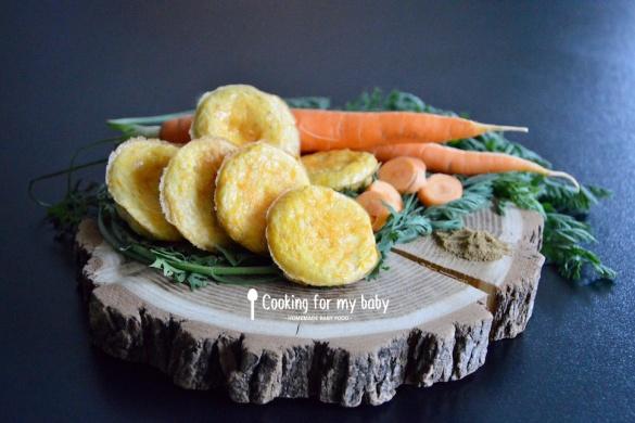 Recette de mini omelettes aux carottes et cumin pour bébé (Dès 12 mois)