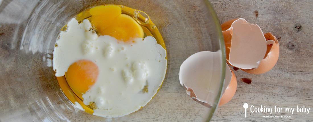 Oeuf et crème pour bébé