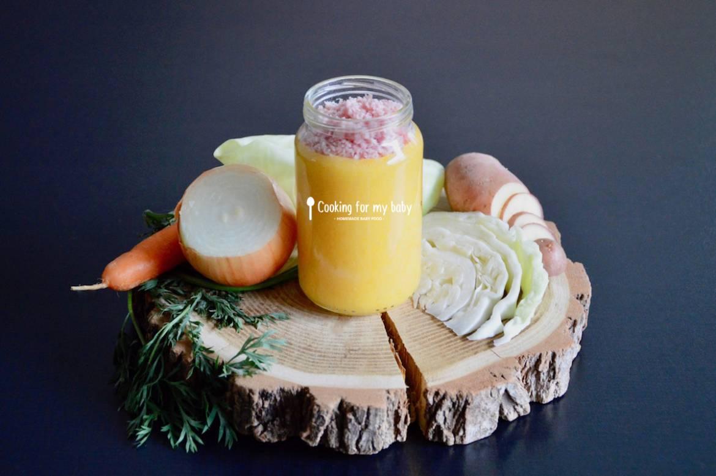 Recette de purée de chou, carotte, pomme de terre et jambon pour bébé (Dès 10 mois)