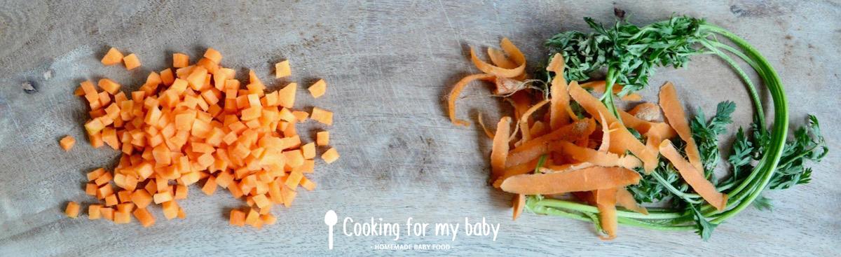 Dés de carotte pour bébé