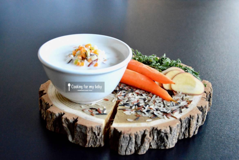 Recette de potage crémeux aux légumes, poulet, riz sauvage pour bébé (Dès 10 mois)