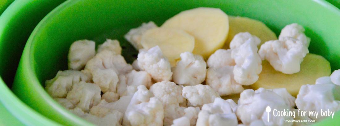 Chou-fleur et pomme de terre à la vapeur pour bébé