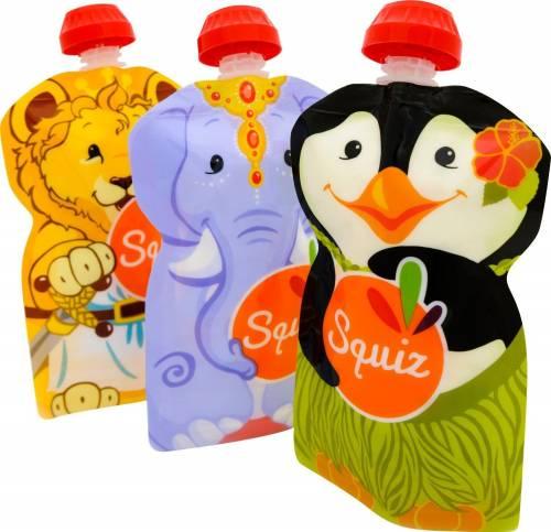 Squiz - Lot de 3 Gourdes pour bébé / enfant réutilisables 130ml pour compotes et purées