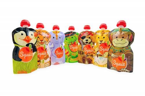 Squiz - Lot de 7 Gourdes pour bébé / enfant réutilisables 130ml pour compotes et purées