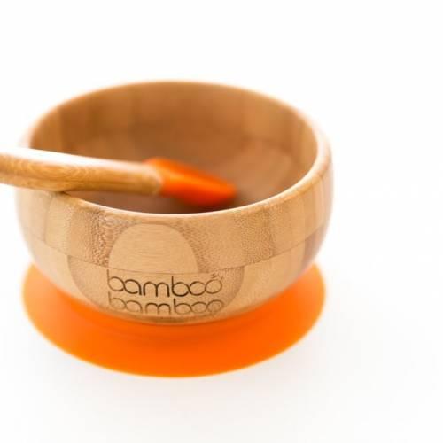 Bamboo - Bol pour bébé avec ventouse et cuillère assortie, stabilisation du bol par ventouse, en bambou naturel