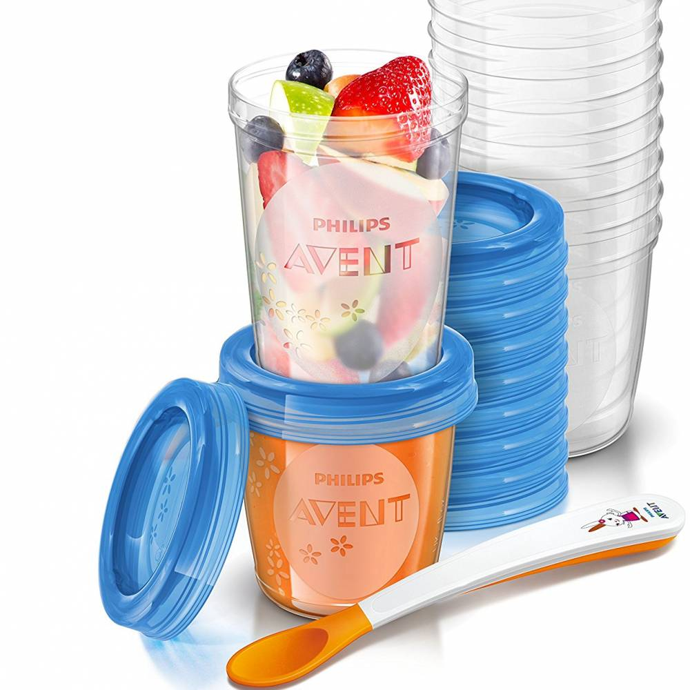 Philips Avent - Pack de 20 petits pots de conservation 10x180 ml et 10x240 ml - cuillère de sevrage