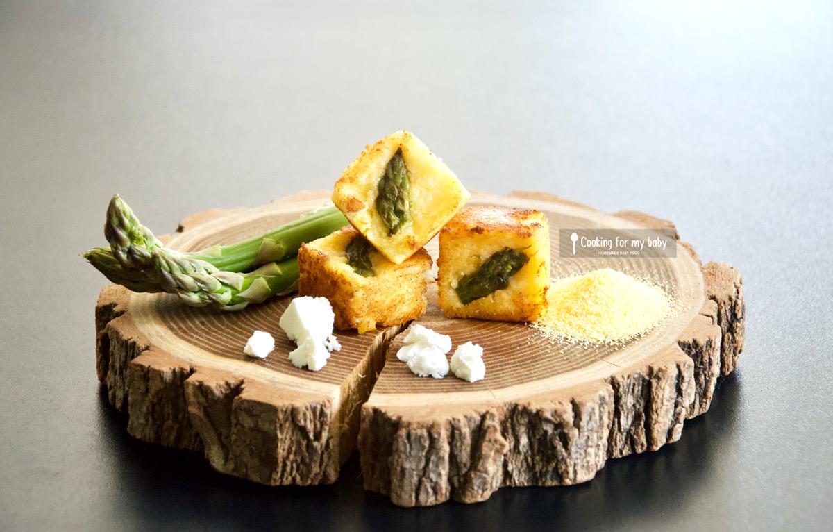 Recette de cubes de polenta asperge verte et fêta pour bébé (Dès 11 mois)
