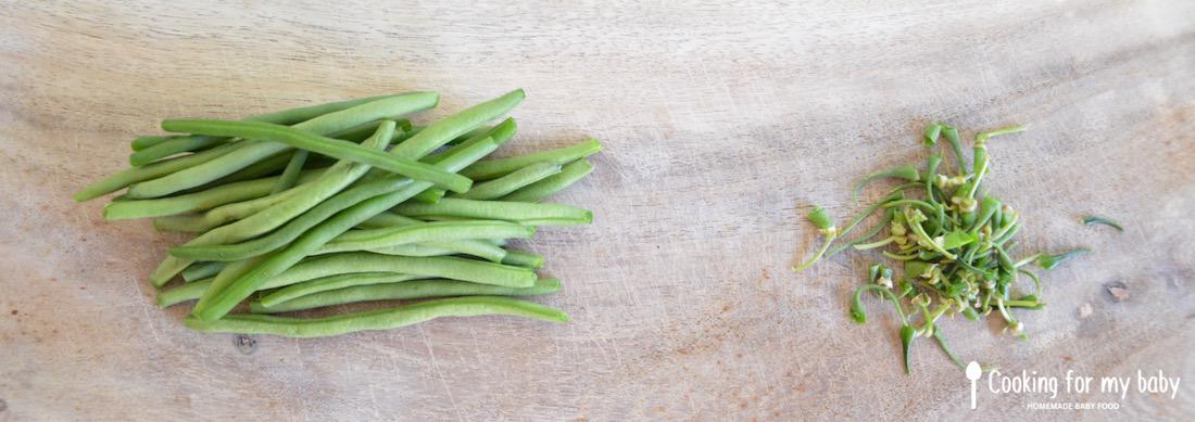 Poignée de haricots verts pour bébé