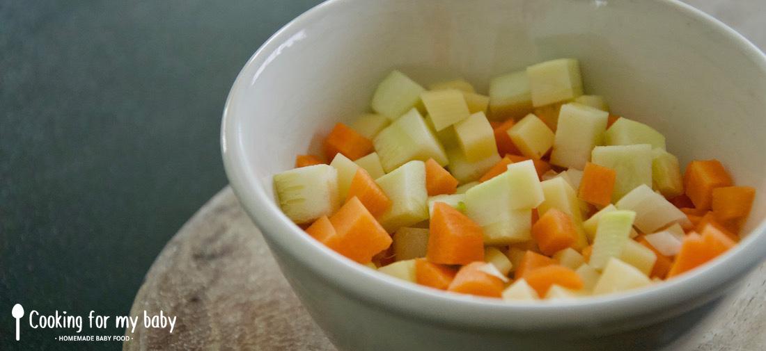 Morceaux de légumes en brunoise pour tortilla pour bébé