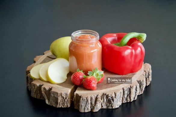 Recette de compote de fraise, pomme et poivron rouge pour bébé (Dès 6 mois)