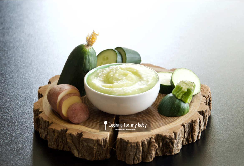 Recette de velouté de courgette, concombre et Saint Môret pour bébé