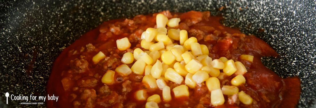 Viande hachée sauce tomate et maïs pour bébé
