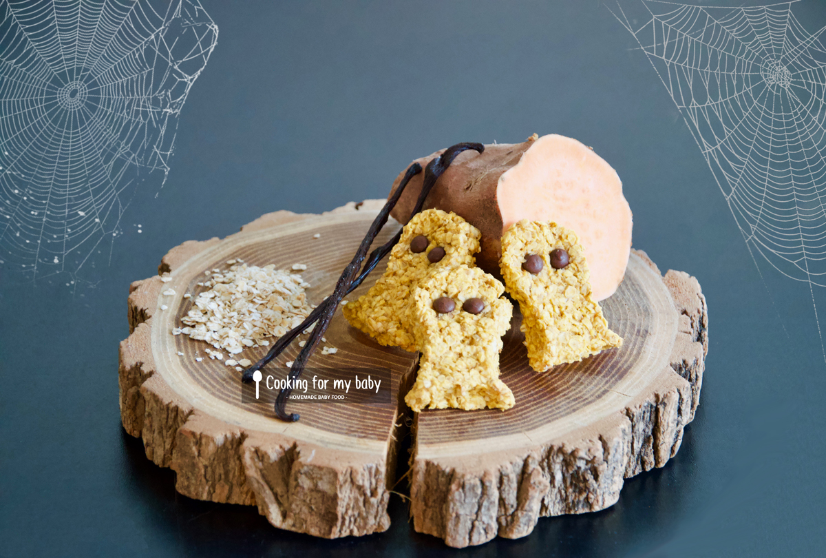 Recette d'Halloween pour bébé : Cookies avoine, patate douce et chocolat (Dès 12 mois)