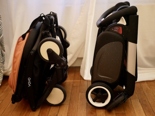 Poussettes Bugaboo Ant et Yoyo Babyzen pliées compactes