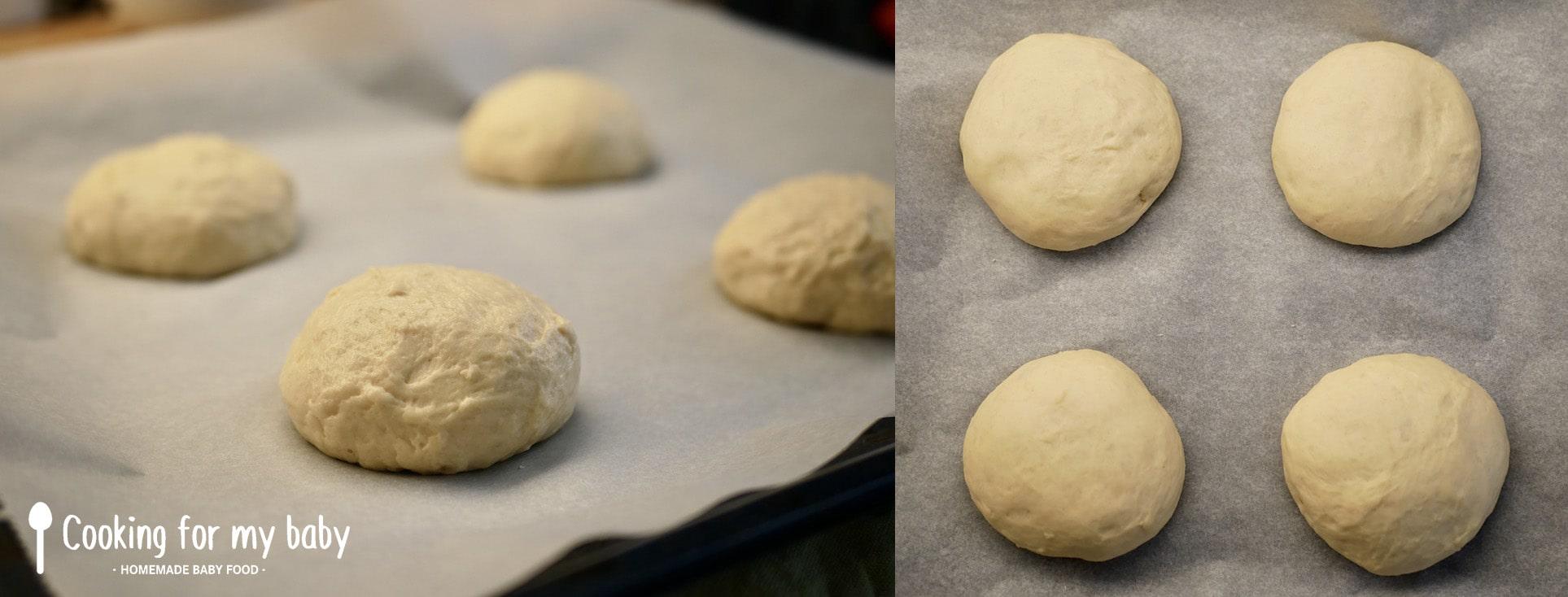 Deuxième pousse des pains burgers briochés