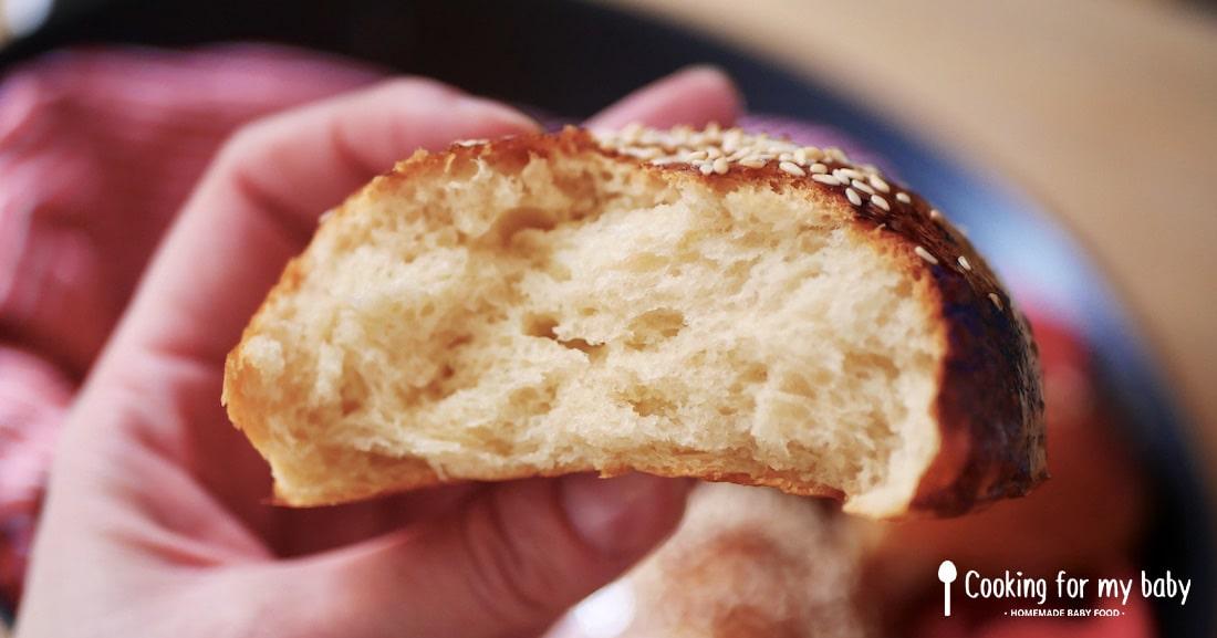 Intérieur d'un pain burger brioché moelleux